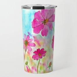 Symphony In Pink, Watercolor Wildflowers Travel Mug