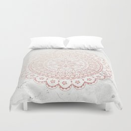 Rose gold mandala and grey marble Duvet Cover