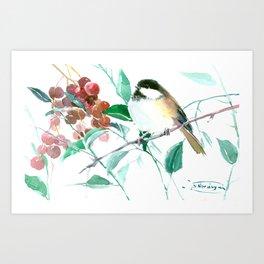Chickadee And Berries chickadee bird art Art Print