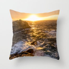 In Waves - Waves Crashing Into Rocks at Sunset In Big Sur Throw Pillow