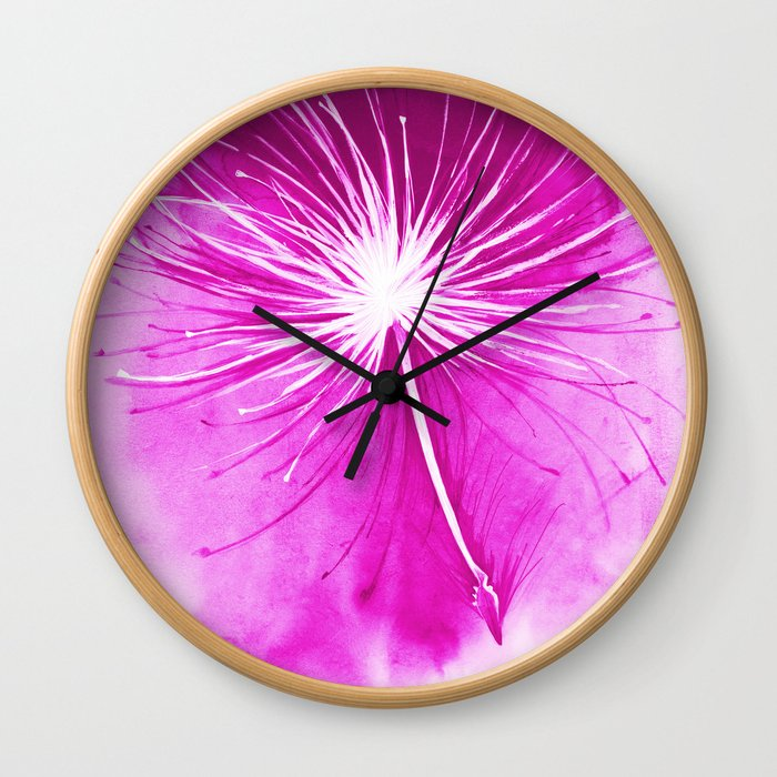 Flying dandelion parachute seeds illustration - painting with watercolors Wall Clock