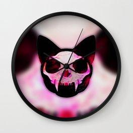Skull Kitty Skull Wall Clock