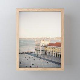 "Travel photography ""Lisbon Sunset Views"" | Modern wall art Portugal Lisbon coast white tones summer Framed Mini Art Print"