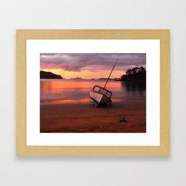 Beached yacht Framed Art Print
