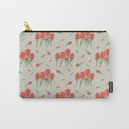 Floral-Indian Paintbrush-Gray Carry-All Pouch