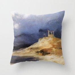 Carl Blechen - Scaffold in Storm Throw Pillow