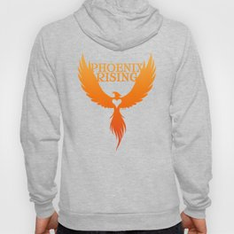 PHOENIX RISING orange with heart center Hoody