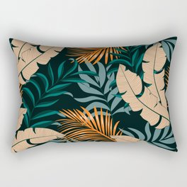 Botanical seamless tropical pattern with bright plants and leaves on a dark background. Summer colorful hawaiian seamless pattern with tropical plants. Seamless pattern with colorful leaves. Rectangular Pillow