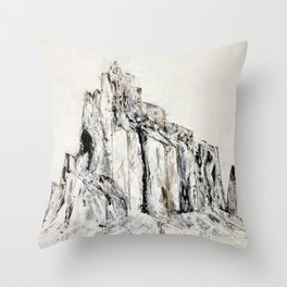Abstract Landscape Painting Shiprock black white geometric Throw Pillow