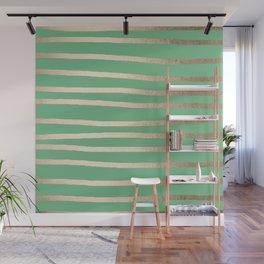 Abstract Drawn Stripes Gold Tropical Green Wall Mural