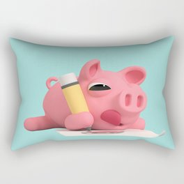 Rosa the Pig Drawing Rectangular Pillow