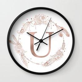 Letter U Rose Gold Pink Initial Monogram Wall Clock