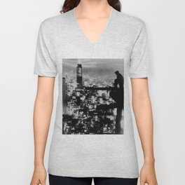 New Yorker Sitting On A Ledge Unisex V-Neck