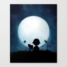 Snoopy Charlie is looking at the moon Canvas Print