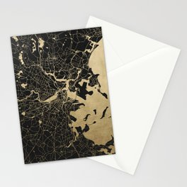 Boston Gold and Black Invert Stationery Cards