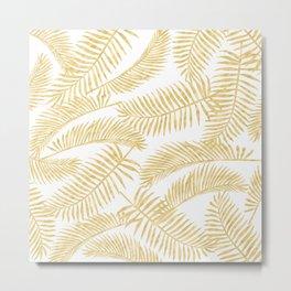 Palm Leaf Pattern Golden Metal Print