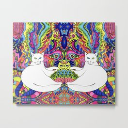 Psychedelic White Cat Metal Print