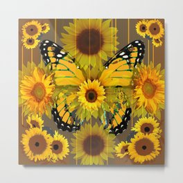 SUNFLOWER BOTANICALS YELLOW MONARCH BUTTERFLY Metal Print