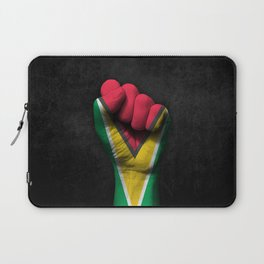 Guyanese Flag on a Raised Clenched Fist Laptop Sleeve