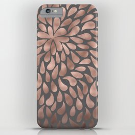 Rosegold- abstract floral elegant pattern on grey background iPhone Case