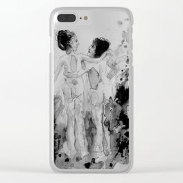 Conversation, drawing Clear iPhone Case