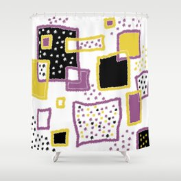 fuzzy rectangles Shower Curtain