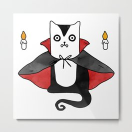 Vampire Cat – Dracula suit Metal Print