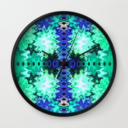 Green Blue Poof Abstract Wall Clock