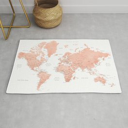 """Rose gold world map with cities, """"Hadi"""" Rug"""