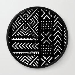 Line Mud Cloth // Black Wall Clock