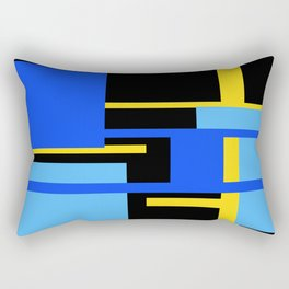 Rectangles - Blues, Yellow and Black Rectangular Pillow