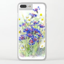 Meadow watercolor flowers with cornflowers Clear iPhone Case