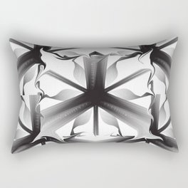 AI Abstract Black and White Rectangular Pillow