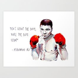 Fly like a butterfly - sting like a bee / ali greatest champion muhammad boxing watercolor passion Art Print