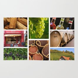 Wine and Vineyard Collage - Cafe or Kitchen Decor Rug