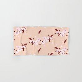 sakura flowers on peach background Hand & Bath Towel