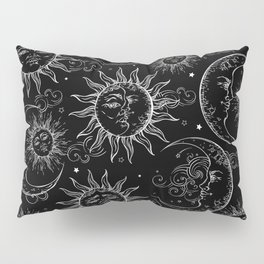 Black Magic Celestial Sun Moon Stars Pillow Sham