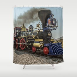 Central Pacific Railroad Jupiter at Golden Spike National Historic Site Utah Transcontinental Shower Curtain