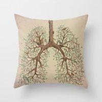 breathe Throw Pillows featuring Breathe! by Marcelo Jiménez