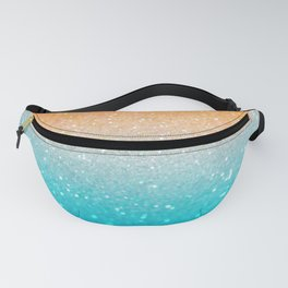 Glitter Teal Gold Coral Sparkle Ombre Fanny Pack