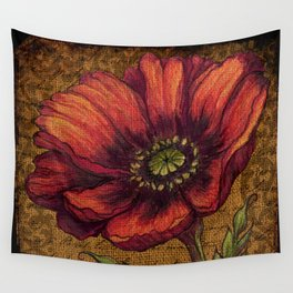 Vintage Burlap Poppy Wall Tapestry