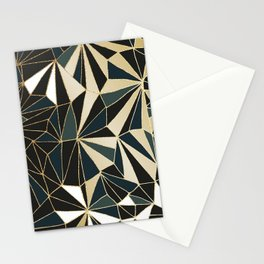 New Art Deco Geometric Pattern - Emerald green and Gold Stationery Cards
