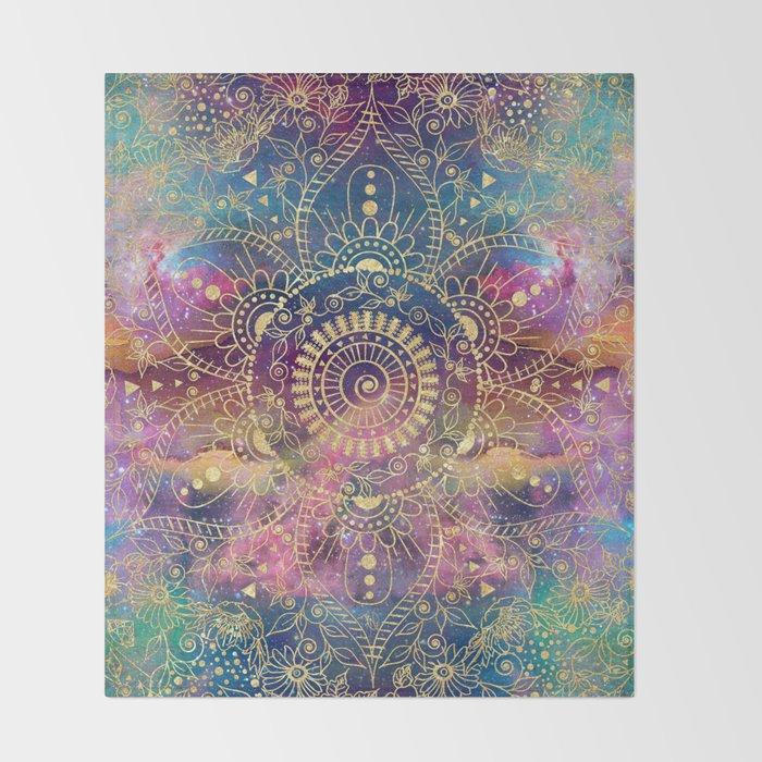 Gold watercolor and nebula mandala Throw Blanket