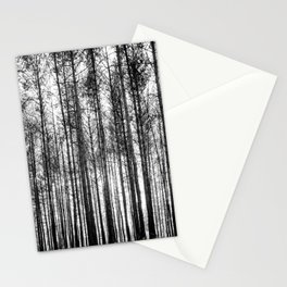 trees in forest landscape - black and white nature photography Stationery Cards