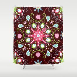 Pointillism mandala | Brown, red and green Shower Curtain