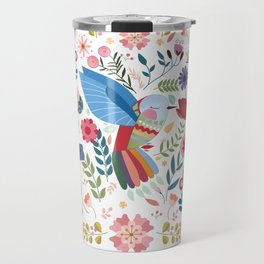 Folk Art Inspired Hummingbird In A Burst Of Springtime Blossoms Travel Mug