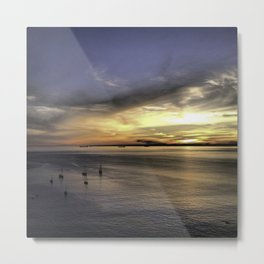 Sunset at Mullion Bay in Cornwall, England Metal Print