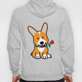 Corgi dog puppy Pembroke Welsh Valentine Rose Hoody