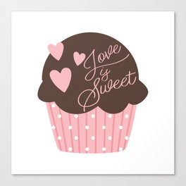 Love is Sweet Cupcake Canvas Print
