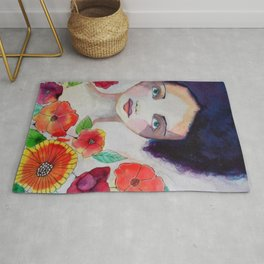 Blue Haired Whimsical Girl Colorful Flowers Rug